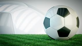 Balón de fútbol brillante giratorio en el campo de hierba - lazo inconsútil