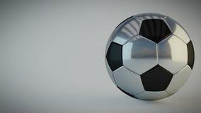 Balón de fútbol brillante giratorio en el fondo blanco - colocación inconsútil