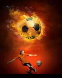 Balón de fútbol caliente Fotografía de archivo libre de regalías