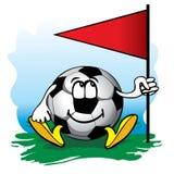 Balón de fútbol cerca del indicador de la esquina. Vector. Imagen de archivo