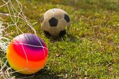Balón de fútbol colorido Foto de archivo