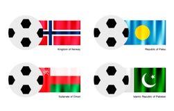 Balón de fútbol con Aland, Albania, Alderney y Alge Imagenes de archivo