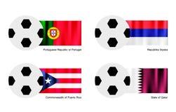 Balón de fútbol con Aland, Albania, Alderney y Alge Foto de archivo