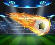 Balón de fútbol con el ejemplo del efecto de fuego stock de ilustración