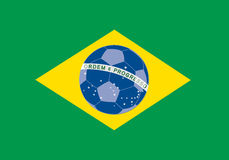 Balón de fútbol con el indicador del Brasil Foto de archivo