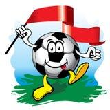 Balón de fútbol con el indicador. Vector. Imagen de archivo
