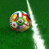 Balón de fútbol con el mundial Team Flags Fotos de archivo