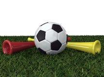Balón de fútbol con el vuvuzela dos Fotografía de archivo libre de regalías