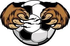Balón de fútbol con imagen de las garras de oso Fotografía de archivo libre de regalías