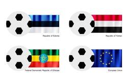Balón de fútbol con la bandera de Estonia, de Yemen, de Etiopía y de unión europea Imagenes de archivo
