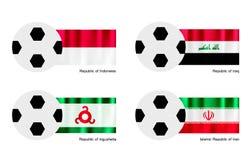 Balón de fútbol con la bandera de Indonesia, de Iraq, de Ingushetia y de Irán Foto de archivo libre de regalías