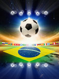 Balón de fútbol con la bandera del Brasil Imágenes de archivo libres de regalías