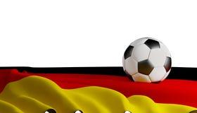 Balón de fútbol con la bandera del fondo 3d-illustration de Alemania Stock de ilustración