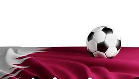 Balón de fútbol con la bandera del fondo 3d-illustration de Qatar Ilustración del Vector