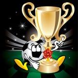 Balón de fútbol con la taza de campeón. Vector. Imagen de archivo libre de regalías