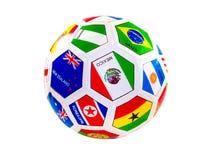 Balón de fútbol con las banderas Imagen de archivo
