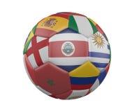 Balón de fútbol con las banderas aisladas en el fondo blanco, Costa Rica en el centro, representación 3d stock de ilustración