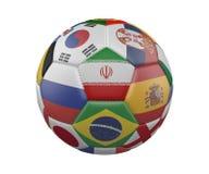 Balón de fútbol con las banderas aisladas en el fondo blanco, Irán en el centro, representación 3d ilustración del vector