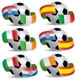 Balón de fútbol con los indicadores Fotografía de archivo