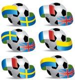 Balón de fútbol con los indicadores Foto de archivo