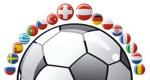Balón de fútbol con los indicadores Fotos de archivo