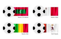 Balón de fútbol con Maldivas, Malta, Malí y Mari El Imagen de archivo libre de regalías