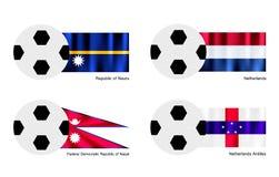 Balón de fútbol con Nauru, Países Bajos, Nepal y la red Foto de archivo libre de regalías