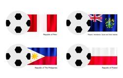 Balón de fútbol con Perú, islas de Pitcairn, Philippin Foto de archivo libre de regalías