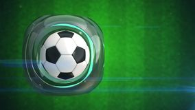 balón de fútbol 3d en marco giratorio de cristal abstracto stock de ilustración