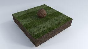 balón de fútbol 3D en remiendo de la hierba Fotografía de archivo