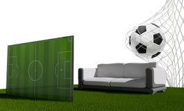 Balón de fútbol 3d-illustration Imagen de archivo libre de regalías