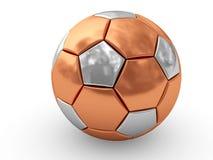 Balón de fútbol de bronce en blanco Imágenes de archivo libres de regalías