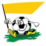 Balón de fútbol de la historieta con el indicador. vector Imagen de archivo
