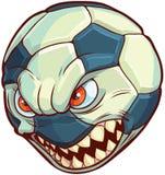 Balón de fútbol de la historieta del vector con la cara mala y los dientes agudos Foto de archivo libre de regalías
