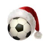 Balón de fútbol de la Navidad imagen de archivo