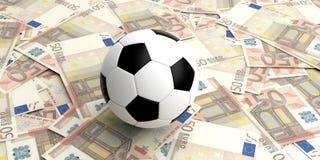 balón de fútbol de la representación 3d en 50 billetes de banco de los euros Fotografía de archivo