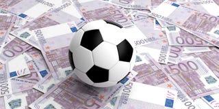 balón de fútbol de la representación 3d en 500 billetes de banco de los euros Imágenes de archivo libres de regalías