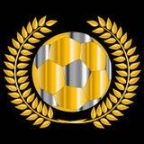 Balón de fútbol de oro Fotografía de archivo libre de regalías