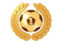 Balón de fútbol de oro con el cuadro 1 en una guirnalda del laurel del oro Imágenes de archivo libres de regalías