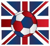 Balón de fútbol de Reino Unido con el gato de unión Imagenes de archivo