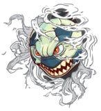 Balón de fútbol del monstruo de la historieta del vector que rasga hacia fuera el fondo Fotografía de archivo