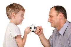 Balón de fútbol del nieto Imagen de archivo