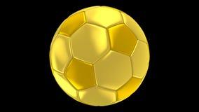 Balón de fútbol del oro que gira el canal alfa almacen de video
