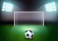 Balón de fútbol del vector en el campo verde stock de ilustración
