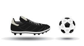 Balón de fútbol e ilustración de los zapatos Imagen de archivo libre de regalías