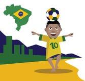 Balón de fútbol el jugar y del control del niño Imagen de archivo