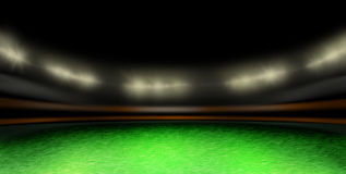 Balón de fútbol en el césped del estadio stock de ilustración