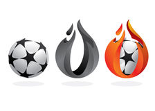 Balón de fútbol en el fuego Imagenes de archivo