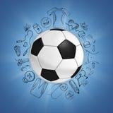 Balón de fútbol en fondo azul con bosquejos del deporte Fotos de archivo libres de regalías