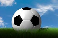 Balón de fútbol en hierba Foto de archivo libre de regalías